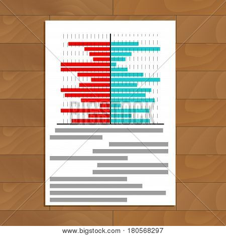File with chart on table. Business info color chart information vector illustration