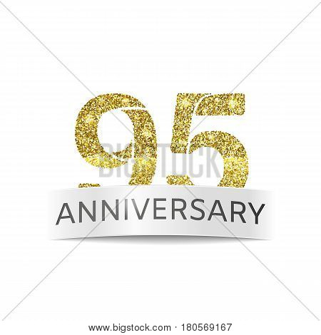 Ninety-five year anniversary. The banner of the 90th birthday golden glitter color on white background