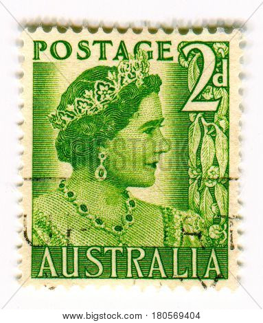 GOMEL, BELARUS, APRIL 5, 2017. Stamp printed in Australia shows image of  The Elizabeth II has been Queen of the United Kingdom, Canada, Australia, and New Zealand since 6 February 1952, circa 1960.