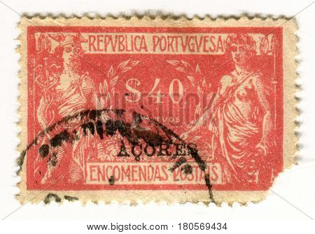 GOMEL, BELARUS, APRIL 5, 2017. Stamp printed in Portugal shows image of  The Mercury is a major Roman god, being one of the Dii Consentes within the ancient Roman pantheon, circa 1920.