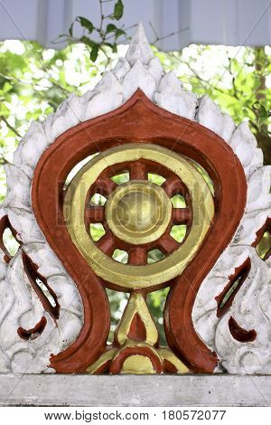 The circle the round shape of the wheel represents the perfection of the dharma the Buddha's teachings.The rim of the wheel represents meditative concentration and mindfulness which hold practice together.The hub represents moral discipline.