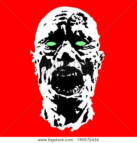 horror fazombie horror face. scary image. vector illustration ce vector illustration