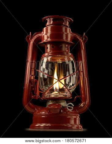 the a kerosene lamp on a black background