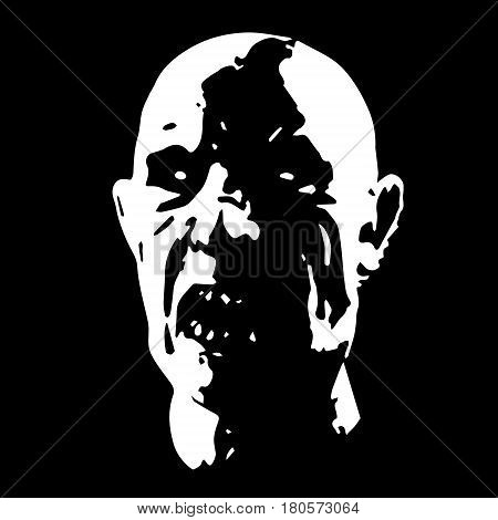 zombie face horror picture black and white colors. spooky apocalypse demon. vector illustration