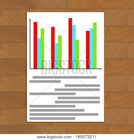 Colored chart info. Economy chart statistic on paper sheet vector illustration