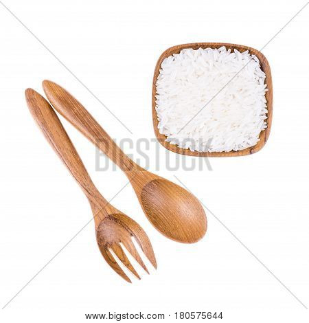 Natural Wooden Fork And Spoon With Rice In Small Wooden Bowl On White Background, Kitchenware Concep