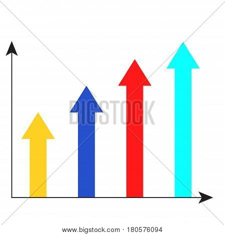 Arrow growth chart. Statistic infographic and infochart vector illustration