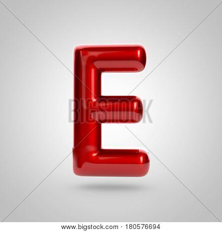 Metallic Paint Red Letter E Uppercase