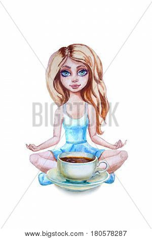 tea cup and saucer with girl adolescent closeup. Sketch handmade. Petite sitting girl . Watercolor illustration.