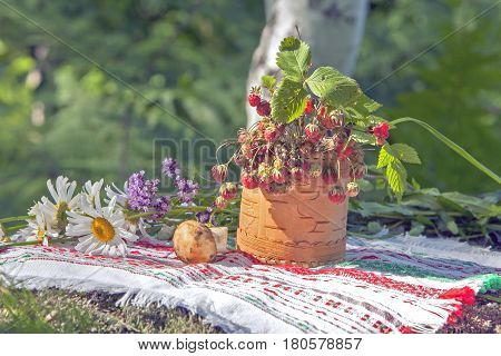 Wild Strawberry In A Basket