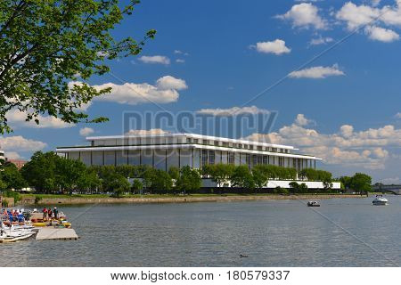 WASHINGTON, DC - 26 MAY, 2014: Kennedy Center, scenic Potomac River as seen from Georgetown waterfront.
