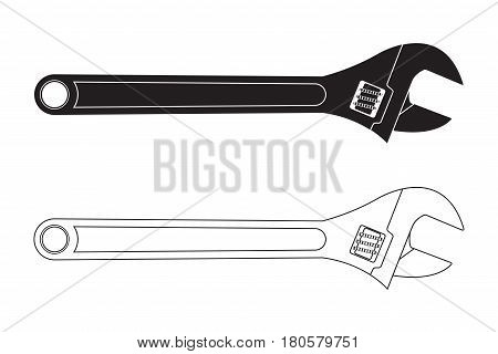 Adjustable wrench. Black and white icons. Vector illustration isolated on white background