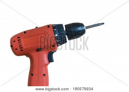 Portable Electric drill on a natural wood background