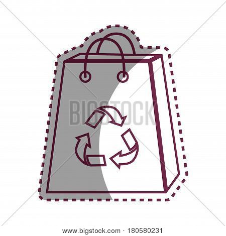 sticker bag with reduce, reuse and recycle symbol, vector illustration