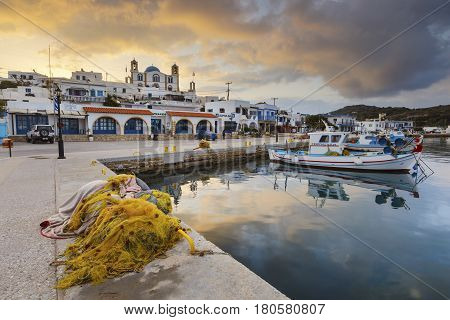 LIPSI, GREECE - MARCH 27, 2017: Main village of Lipsi island in Dodecanese, Greece on March 27, 2017.