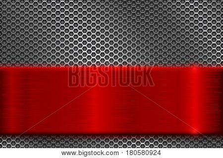 Metal perforated background with square holes. With red stainless steel plate. Vector 3d illustration