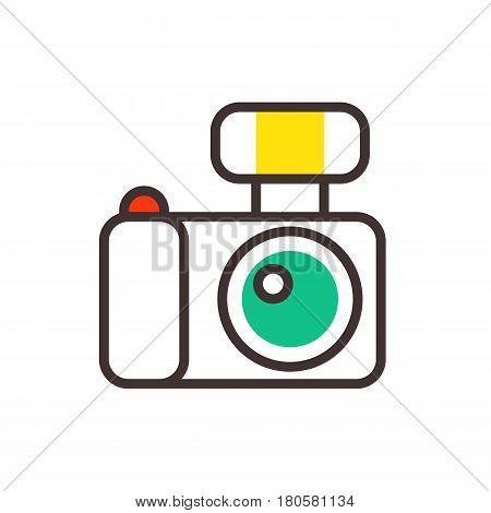 Photo camera vector reflection movie instrument on white background and outline type objective equipment line art logo professional look illustration. Digital technology electronic aperture device.