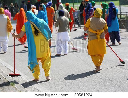 Vicenza, Vi, Italy - April 8, 2017: Procession Of Sikh Women During The Nagar Kirtan Festival