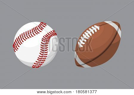 Sport balls isolated tournament win round baseball soccer equipment and recreation leather group traditional different design vector illustration. American many hobbies activity symbol.
