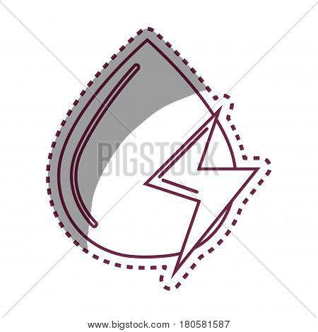 sticker water drop with energy sign, vector illustration