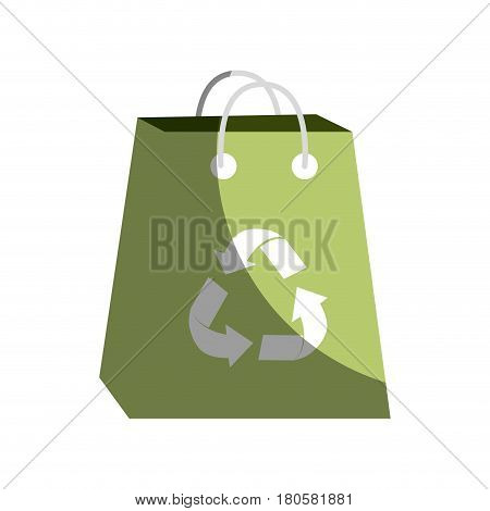 green bag with reduce, reuse and recycle symbol, vector illustration