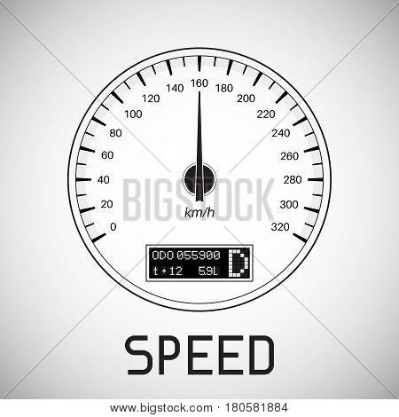 Speedometer km hour . speed outline icon. Vector illustration