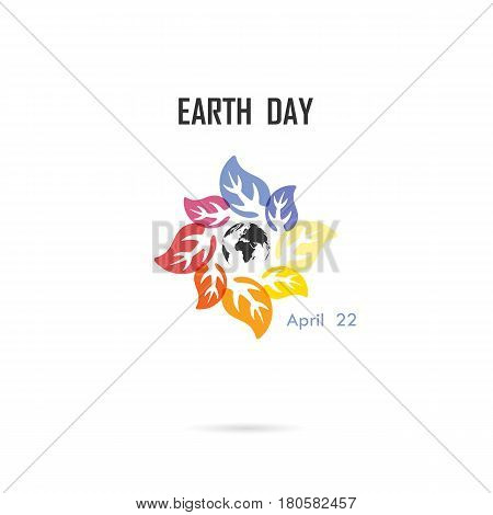 Circle of colorful leaves icon and globe icon vector logo design template.Earth Day campaign idea concept.Earth Day idea campaign for greeting CardPosterFlyerCover or Brochure.Vector illustration