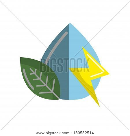 drop of water with energy sign and leaf, vector illustration