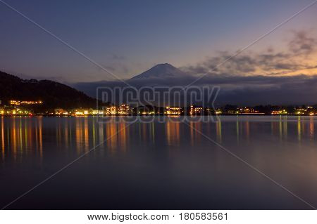 Beautiful natural landscape view of Mount Fuji at Kawaguchiko at night in autumn season at Japan. Mount Fuji is a Special Place of Scenic Beauty and one of Japan's Historic Sites