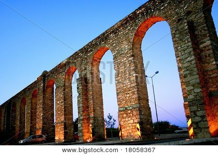 Roman aquaduct running across the city of Lisbon.