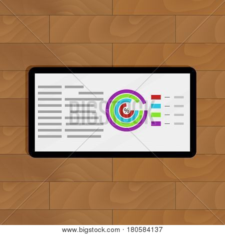 Tablet with business info. Presentation finance statistical display with infochart and diagram. Vector illustration