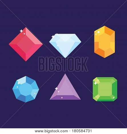 Pack of six colored gemstones. Vector stock.