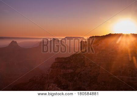 sunrise at the grand canyon north rim