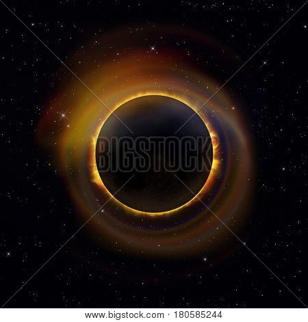Solar Eclipse On Starry Sky