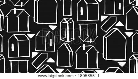 Hand drawn scandinavian geometric pattern vector background. houses scandinavian seamless pattern