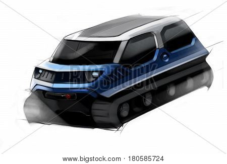 Sketch design concept of cross-country off-road vehicle. Graphics to the project. Illustration.