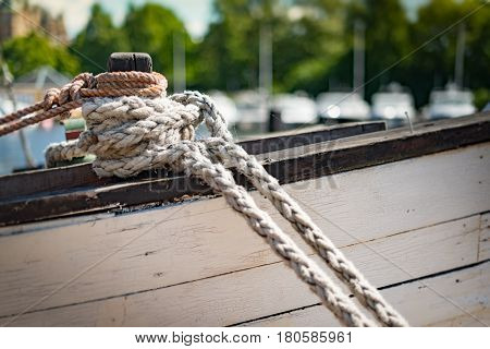 Detail view on ropes on boat in port of Stockholm Sweden Scandinavia Europe.