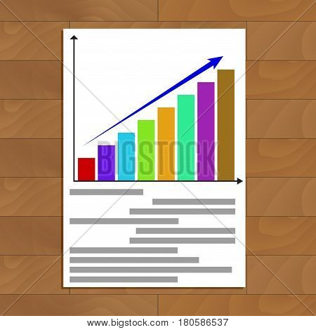 Growing statistics chart. Finance information about economic growth vector illustration