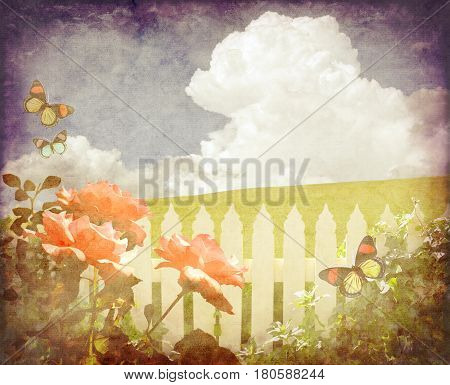 Spring background of butterflies, roses and ivy on white picket fence in front of a green grassy hill and blue sky cloudscape. Vintage paper grunge textured digital photo manipulation image.