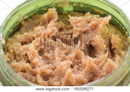 Body scrub, scrub texture and sample scrub, isolated white background