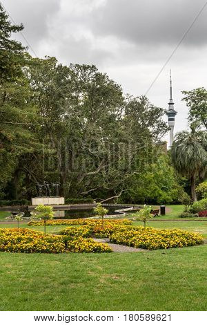 Auckland New Zealand - March 1 2017: Wide shot of the sky tower seen from Domain park with Three Witches Statue pond and yellow and orange flowers. Dark gray cloudy sky.