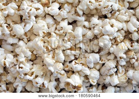 Sweet popcorn in a pile from an overhead perspective