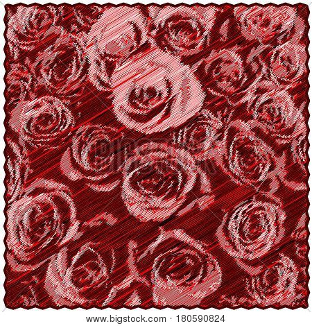 Square tapestry with floral pattern of stylized roses on diagonal grunge striped backdrop in red,black,grey colors
