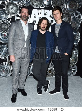 LOS ANGELES - MAR 27: Jon Hamm, Edgar Wright and Ansel Elgort  arrives for the CinemaCon 2017-Sony Pictures on March 27, 2017 in Las Vegas, NV