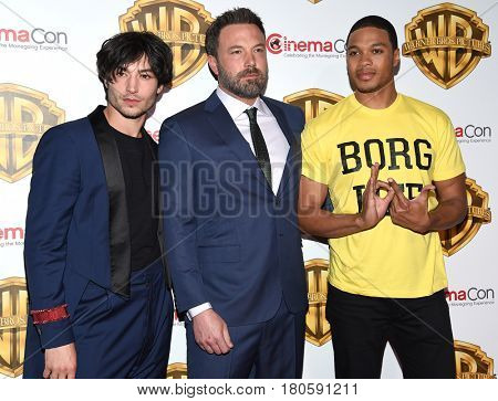LOS ANGELES - MAR 29:  Ezra Miller, Ben Affleck and Ray Fisher arrives for the CinemaCon 2017-Warner Brothers on March 29, 2017 in Las Vegas, NV
