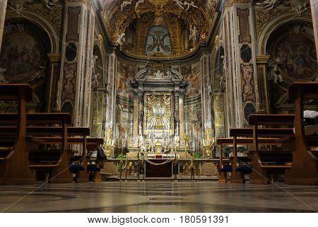ROME ITALY - DECEMBER 16 2016: Baroque altar of the Santa Maria dell Orto church in Rione Trastevere