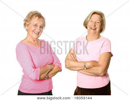 Mature women friends in casual clothing, isolated.