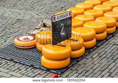 Traditional Dutch Cheese Market In Alkmaar, The Netherlands