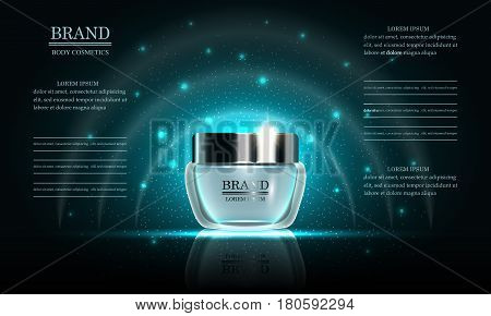 Cosmetics beauty series premium body cream for skin care on blue background template for design poster placard presentation banners cover vector illustration.