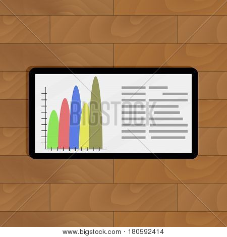 Tablet with color info chart. Infographic on device vector illustration